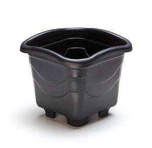 kit 6 vaso plastico quadrado medio preto 5,6 litros 0454 injeplastec