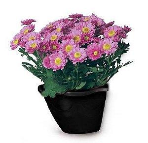 kit 40 vaso plastico flor pendurar na parede preto 0967 injeplastec