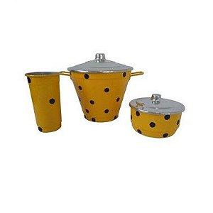 Kit Pia Poa 3 Peças Aluminio Amarelo Bola Preta 0316 Alumina