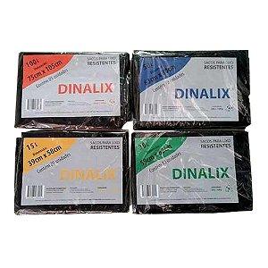 Saco Lixo Preto 100 litros 5 Un 75 x 105 Cm Dinalix 1282