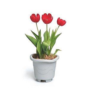 Vaso Plastico Redondo Medio Marmore 4,7 Litros 1003 Injeplastec