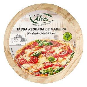 Tabua Madeira Redonda 34 cm Alves 0175