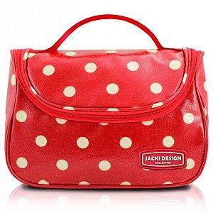 Necessaire look vermelho Com Gancho de Bolinhas Jacki Design