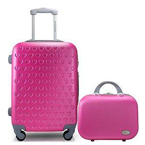 Mala para Viagem com maleta de bordo Love pink Jacki Design