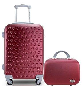 Mala de Viagem pequena com maleta Love Jacki Design vinho