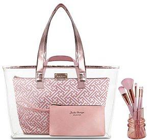 Conjunto de Bolsas com 3 Peças + Kit pincéis Diamantes Rosa Jacki Design