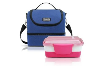 Kit Bolsa Térmica Urbano azul Com Pote Marmita dupla rosa Jacki Design