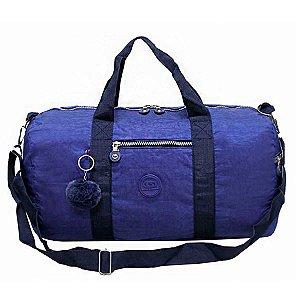 Sacola Bolsa de Viagem Grande com Pompom Azul Cruzeiro