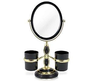 Espelho de bancada com suportes laterais Jacki Design Preto