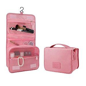 Necessaire de viagem rosa claro com divisórias e gancho Jacki Design