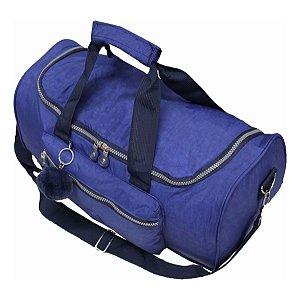 Bolsa de Viagem com Bolso Frontal e Pompom Azul Cruzeiro
