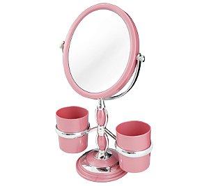 Espelho de bancada com suportes laterais Jacki Design Rosa