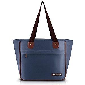 Bolsa feminina com bolso Jacki Design Essencial Azul