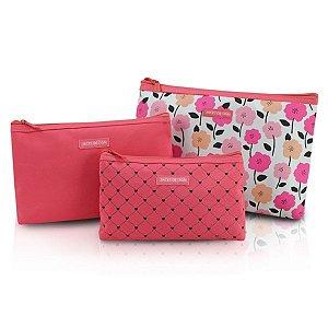 Kit Necessaire com 3 peças Jacki Design Pink Lover Salmão