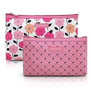 Kit Necessaire 2 peças Jacki Design Pink Lover Rosa
