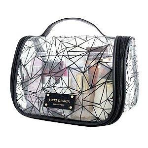 Necessaire De Viagem em pvc crystal preto Jacki Design