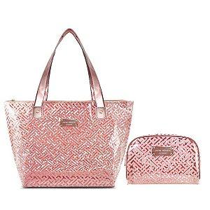 Bolsa Shopper Transparente Com Necessaire Diamantes rosa