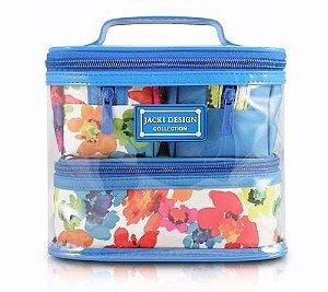 Kit viagem com 4 Necessaires Aquarela azul Jacki Design