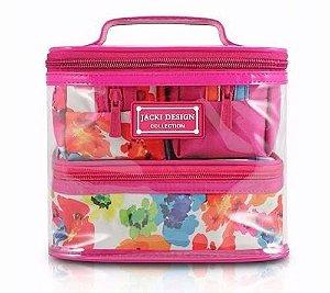 Kit viagem com 4 Necessaires Aquarela rosa Jacki Design