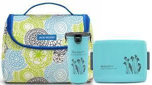 Bolsa Térmica de mão com marmita e copo azul Jacki Design