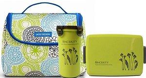 Bolsa Térmica azul com marmita e copo verde Jacki Design