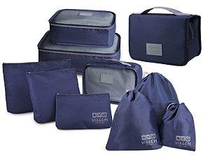 Kit com 9 organizadores de malas e 1 necessaire Azul