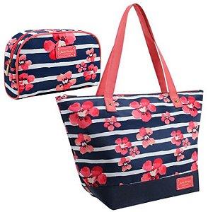Conjunto de Bolsa e Necessaire Bossanova Azul Jacki Design
