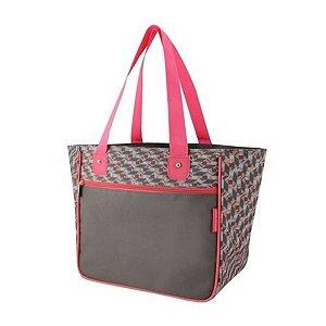 Bolsa sacola feminina de ombro cinza Jacki Design