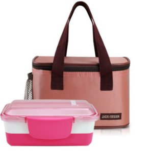 Conj Bolsa térmica essencial com marmita dupla rosa awm17156