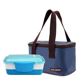Bolsa térmica essencial azul com marmita dupla awm17156