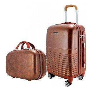 Mala De Bordo para viagem Vintage com maleta carona marrom