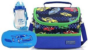 Bolsa Térmica Dupla com Marmita e garrafa carro azul claro