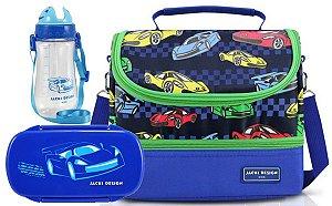 Bolsa Térmica Dupla com Marmita e garrafa carro azul escuro