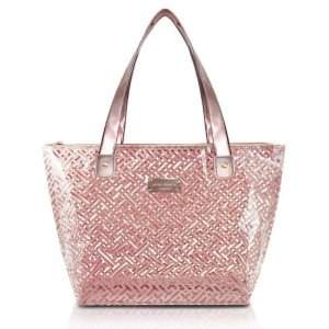 Bolsa Shopper Transparente Abc17573 Diamantes rosa