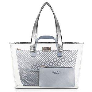 Kit de bolsa prata 3 peças coleção Diamantes Jacki Design