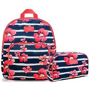 kit mochila com necessaire Bossanova azul - Jacki Design