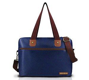 Bolsa de trabalho carteiro masculina Azul e Marrom Jacki Design