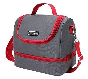 Bolsa Térmica dupla urbano G cinza e com vermelho Jacki Design