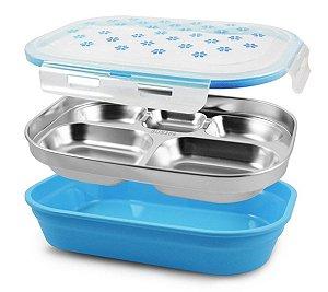 Pote marmita 5 compartimentos inox Azul Jacki Design
