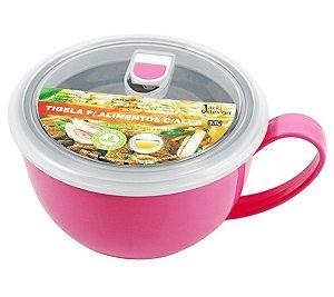 Tigela para alimentos 1100ml inox com alça Rosa Jacki Design