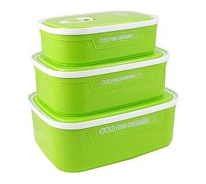 Conjunto potes 3 peças para alimentos Verde Jacki Design