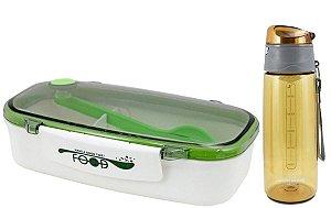 Marmita com Colher verde c/ Garrafa amarelo Jacki Design