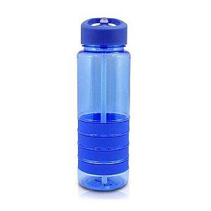 Garrafa Squeeze com Canudo Retrátil Fitness Plástico Azul -