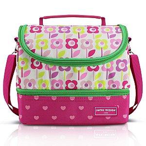 Lancheira Térmica 2 compartimentos Flor Pink Jacki Design