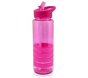 Garrafa Squeeze com Canudo Retrátil Pink Jacki Design 750ml