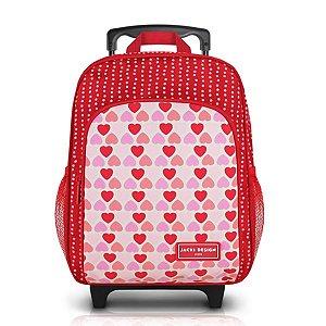 Mochila P com rodinhas Sapeka Jacki Design Vermelha Corações