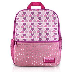 Mochila escolar Jacki Design Coleção Sapeka Coração Rosa