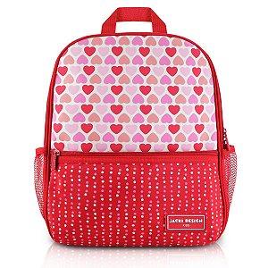 Mochila escolar Jacki Design Coleção Sapeka Coração Vermelho
