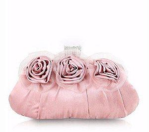 Bolsa De Festa Três Flores Aht38051 - Jacki Design rosa