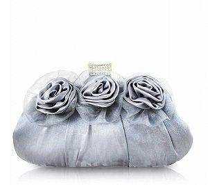 Bolsa De Festa Três Flores Aht38051 - Jacki Design prata